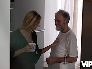 VIP4K. Passionate old and young scene in morning after a cup of tea