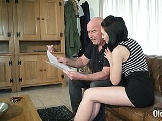 Young brunette big round boobs gets fucked by grandpa in hardcore young old